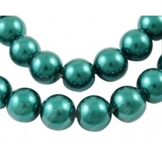 stperl0350-06 apie 6 mm, apvali forma, stiklinis perliukas, elektrinė spalva, apie 56 vnt.