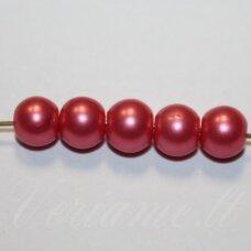stperl0356-08 apie 8 mm, apvali forma, stiklinis perliukas, rožinė spalva, apie 24 vnt.