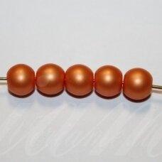 stperl0358-08 apie 8 mm, apvali forma, stiklinis perliukas, oranžinė spalva, apie 24 vnt.
