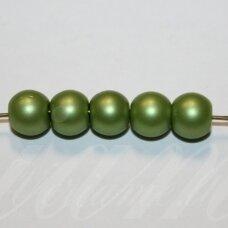 stperl0363-08 apie 8 mm, apvali forma, stiklinis perliukas, žalia spalva, apie 24 vnt.