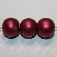stperl0365-12 apie 12 mm, stiklinis perliukas, tamsi, alyvinė spalva, 9 vnt.