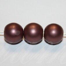 stperl0370-12 apie 12 mm, stiklinis perliukas, ruda spalva, 9 vnt.