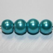 stperl0375-08 apie 08 mm, stiklinis perliukas, žydra spalva, apie 28 vnt.
