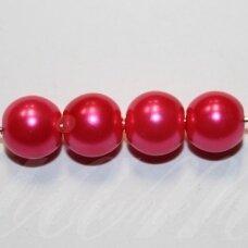 stperl0376-06 apie 6 mm, stiklinis perliukas, ryški, rožinė spalva, apie 58 vnt.