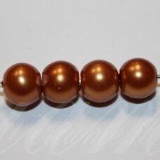 stperl0377-08 apie 08 mm, stiklinis perliukas, šviesi, ruda spalva, apie 28 vnt.