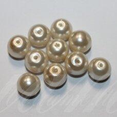 STPERL0383-10 apie 10 mm, apvali forma, stiklinis perliukas, kreminė spalva, apie 10 vnt.
