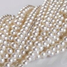 stperl0383-10 apie 10 mm, apvali forma, stiklinis perliukas, kreminė spalva, apie 16 vnt.