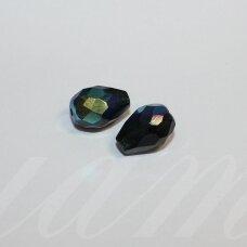 stpn0003 apie 13 x 10 mm, lašo forma, briaunuotas, marga spalva, stiklinis karoliukas, 2 vnt.