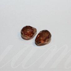 stpn0006 apie 13 x 10 mm, lašo forma, briaunuotas, skaidrus, ruda spalva, stiklinis karoliukas, 2 vnt.