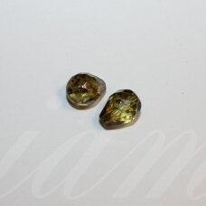 stpn0010 apie 13 x 10 mm, lašo forma, briaunuotas, skaidrus, žalsva spalva, margas, stiklinis karoliukas, 2 vnt.