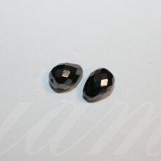 stpn0011 apie 13 x 10 mm, lašo forma, briaunuotas, hematito spalva, stiklinis karoliukas, 2 vnt.