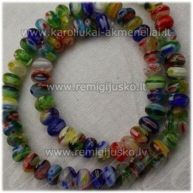 stik0013 about 4.5 x 8 mm, rondelle shape, colourful, glass bead, 1 pc.