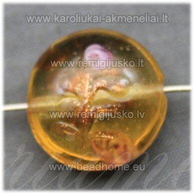 stik0057 apie 20 x 10 mm, gelsva spalva, stiklinis karoliukas, 1 vnt.