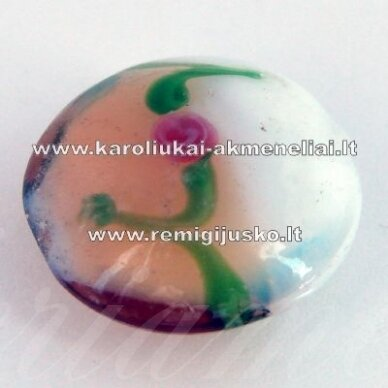 stik0059 apie 20 x 10 mm, disko forma, balta spalva, rusva spalva, stiklinis karoliukas, 1 vnt.