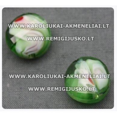 STIK0269 apie 14 x 7 mm, žalia spalva, marga, stiklinis karoliukas, 1 vnt.