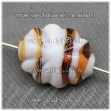 stik0418 about 21 x 16 x 9 mm, oblong shape, colourful, white - brown color, glass bead, 1 pc.