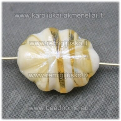 stik0421 apie 21 x 16 x 9 mm, ovalo forma, balta spalva, geltona spalva, stiklinis karoliukas, 1 vnt.