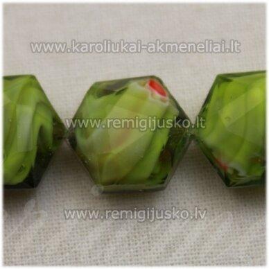 STIK0514 apie 15 x 10 mm, briaunuotas, žalia spalva, marga, stiklinis karoliukas, 1 vnt.