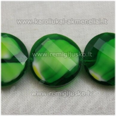 stik0524 apie 18 x 7 mm, disko forma, briaunuotas, suktas, žalia spalva, marga, stiklinis karoliukas, 1 vnt.