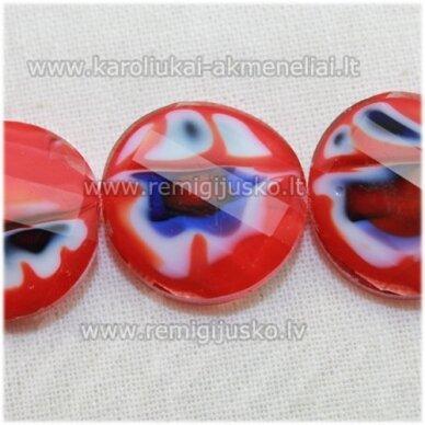 stik0529 apie 18 x 7 mm, disko forma, briaunuotas, suktas, raudona spalva, marga, stiklinis karoliukas, 1 vnt.