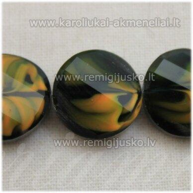 stik0536 apie 14 x 6 mm, disko forma, briaunuotas, suktas, tamsi, žalia spalva, marga, stiklinis karoliukas, 1 vnt.