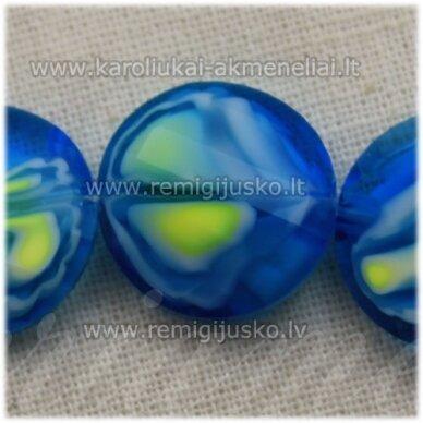 STIK0538 apie 14 x 6 mm, disko forma, briaunuotas, suktas, žydra spalva, marga, stiklinis karoliukas, 1 vnt.
