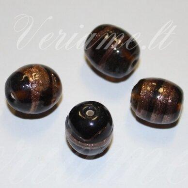 stik0556 apie 16 x 14 mm, pailga forma, ruda spalva, marga, stiklinis karoliukas, 1 vnt.