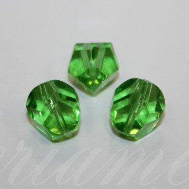 stk0440 apie 12 mm, briaunuotas, skaidrus, žalia spalva, stiklinis karoliukas, 8 vnt.