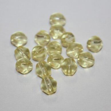 stk0956 apie 6 mm, skaidrus, geltona spalva, stiklinis karoliukas, apie 80 vnt.