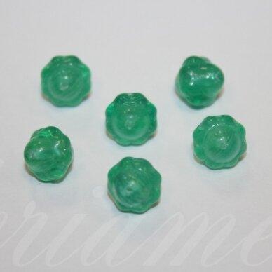 stk0957 apie 9 x 9 mm, briaunuotas, žalia spalva, stiklinis karoliukas, 28 vnt. / x 5 pakeliai.