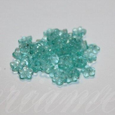 stk1166 apie 3 x 7 mm, melsvai žalia spalva, stiklinis karoliukas, apie 180 vnt.