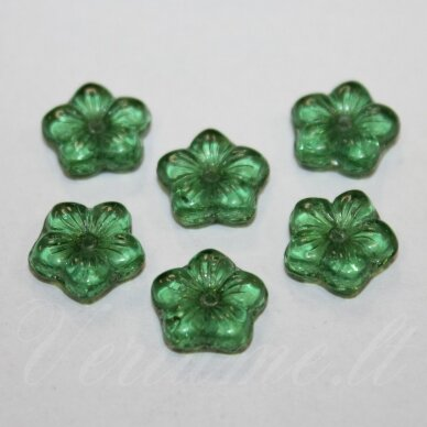 stk2003 apie 4 x 12 mm, gėlytės forma, žalia spalva, 12 vnt.