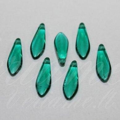 stk2014 apie 5 x 16 mm, žiedlapio forma, skaidrus, elektrinė spalva, stiklinis karoliukas, 22 vnt.