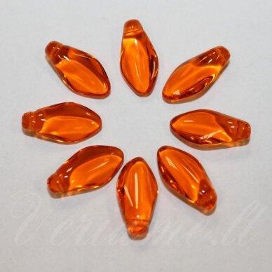stk2035 apie 7 x 14 mm, žiedlapio forma, skaidrus, oranžinė spalva, stiklinis karoliukas, 20 vnt.