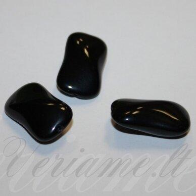 stk2110 apie 23 x 13 x 9 mm, juoda spalva, stiklinis karoliukas, 5 vnt.