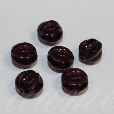 stk0599 apie 10 mm, skaidrus, tamsi, violetinė spalva, stiklinis karoliukas, 18 vnt.