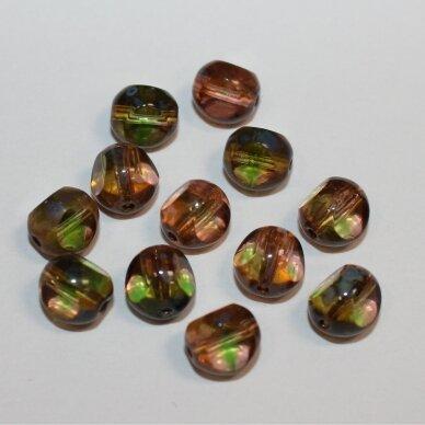 stk2236 apie 8 mm, skaidrus, marga, violetinė spalva, stiklinis karoliukas, apie 35 vnt.