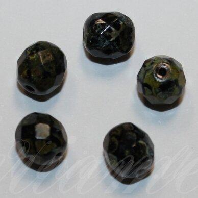 stkb00012-08 apie 8 mm, apvali forma, briaunuotas, marga, stiklinis karoliukas, 32 vnt.