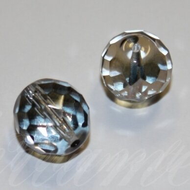 STKB00030/14235-14 apie 14 mm, apvali forma, briaunuotas, skaidrus, stiklinis karoliukas, 4 vnt.