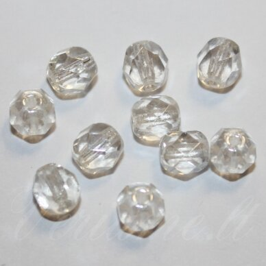 stkb00030/14400-03 apie 3 mm, apvali forma, briaunuotas, skaidrus, stiklinis karoliukas, apie 160 vnt. / x 5 pakeliai.