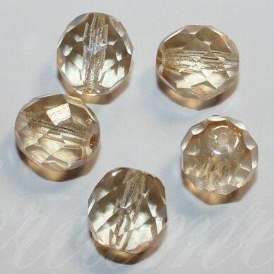 stkb00030/14413-10 apie 10 mm, apvali forma, briaunuotas, gelsva spalva, stiklinis karoliukas, apie 14 vnt.
