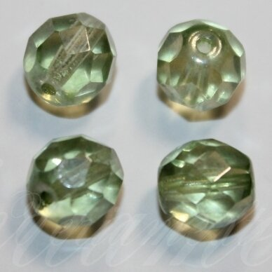 stkb00030/14457-04 apie 4 mm, apvali forma, briaunuotas, skaidrus, žalsva spalva, apie 76 vnt.