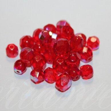 STKB90080/28701-06/08MIX apie 6-8 mm, apvali forma, briaunuotas, skaidrus, raudona spalva, AB danga, apie 17g.