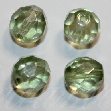 STKB00030/14457-06 apie 6 mm, apvali forma, briaunuotas, skaidrus, žalsvas atspalvis, apie 48 vnt.