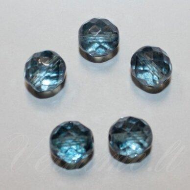 stkb00030/15464-12 apie 12 mm, apvali forma, briaunuotas, skaidrus, žydra spalva, stiklinis karoliukas, 8 vnt.