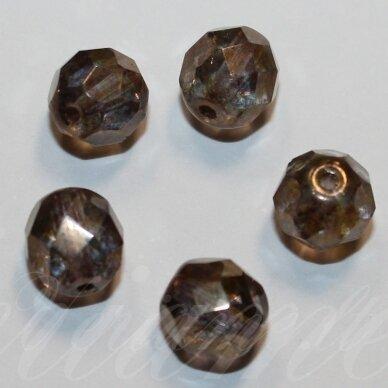 stkb00030/15695-10 apie 10 mm, apvali forma, briaunuotas, margas, stiklinis karoliukas, apie 12 vnt.