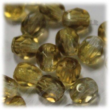 stkb00030/22501-10 apie 10 mm, apvali forma, briaunuotas, skaidrus, rusva spalva, 14 vnt.