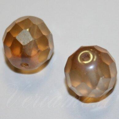 stkb00030/22501-12 apie 12 mm, apvali forma, briaunuotas, skaidrus, matinė, geltona spalva, stiklinis karoliukas, 7 vnt.