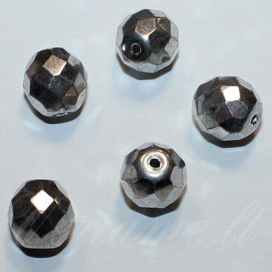 stkb00030/27000-08 apie 8 mm, apvali forma, briaunuotas, sidabrinė spalva, stiklinis karoliukas, 27 vnt.