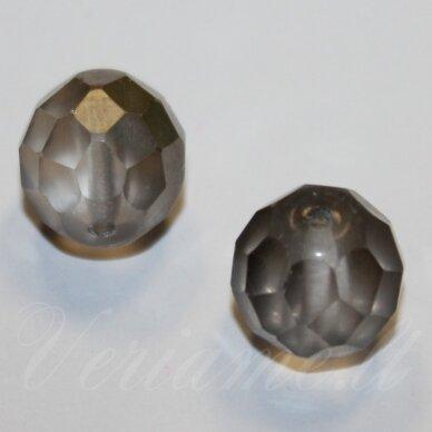 stkb00030/27401-08 apie 8 mm, apvali forma, briaunuotas, skaidrus, sidabrinė spalva, stiklinis karoliukas, 23 vnt.